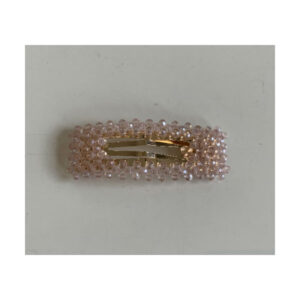 Perle spænde rosa krystal firkantet