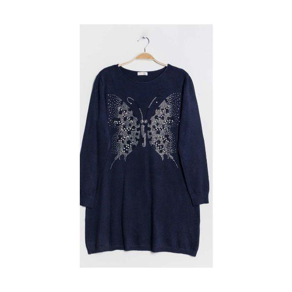 sommefulge strik mørk blå
