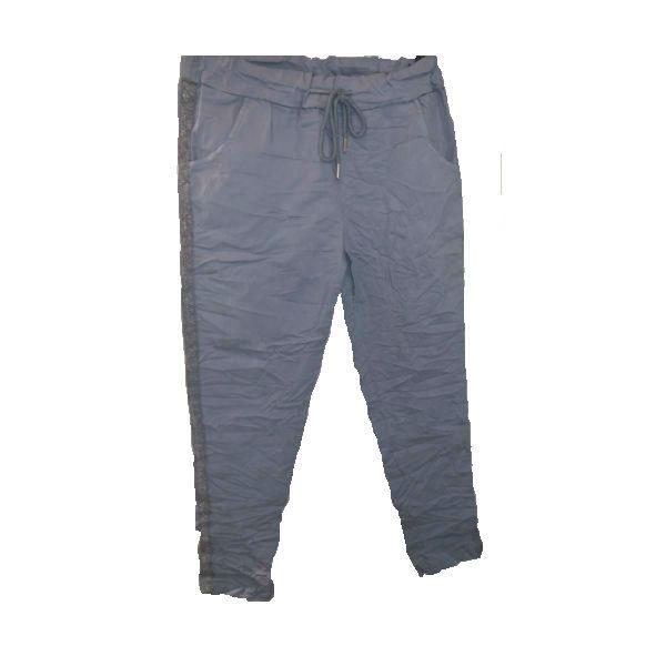 bukser med sølvstrib lys blå