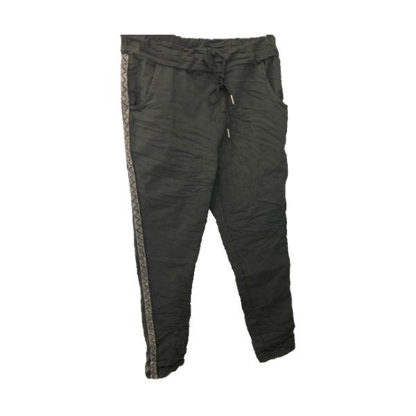 buks med sølvstribe mørk grå