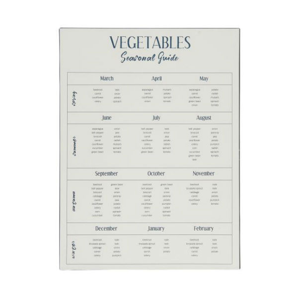 Metalskilt Vegetables season guide