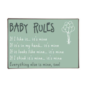 Metalskilt Baby rules