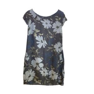 Eghoff hør kjole mørkeblå blomst