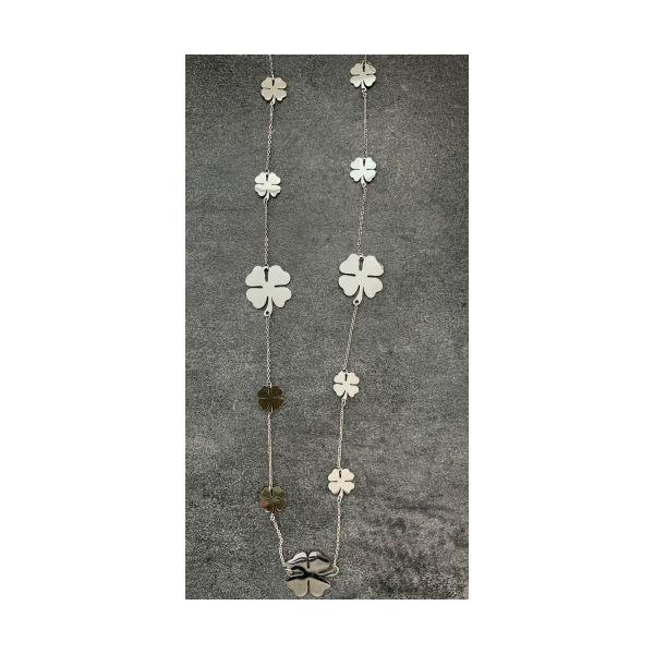 Kæde lang firkløver sølv fra The & ide