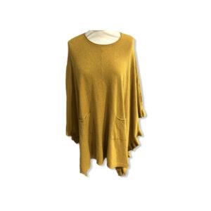 Eghoff poncho med lommer gul