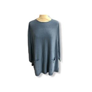Eghoff strik med lommer blå