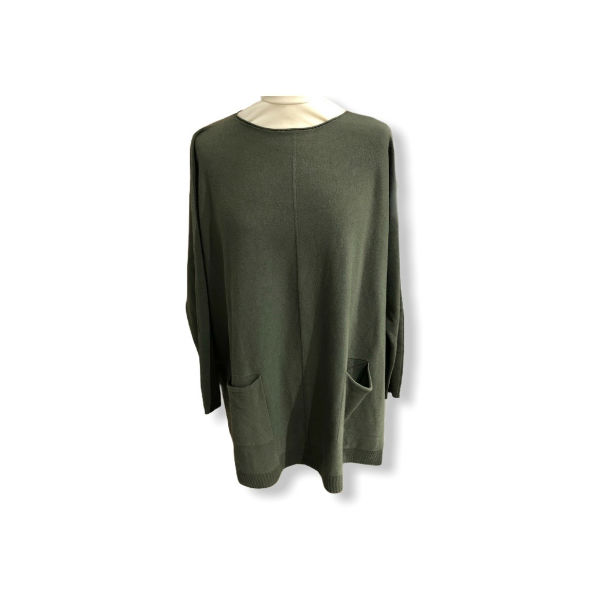 Eghoff poncho med lommer grøn
