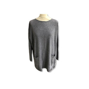 Eghoff poncho med lommer grå