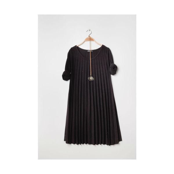 Plisseret kjole sort