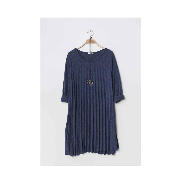 plisseret kjole jeans blå