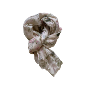 Tørklæde grøn blomst