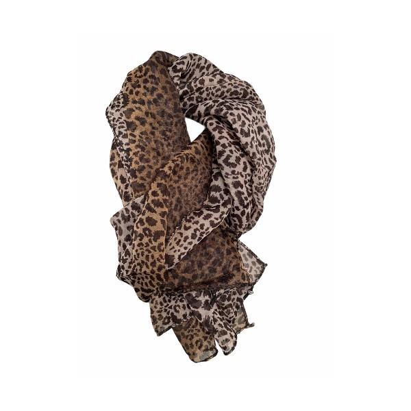 Tørklæde dyreprint brun