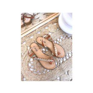 Sandal flad guld